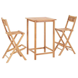 Bar Set, 3 Piece, Solid Teak Wood