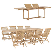 Load image into Gallery viewer, Garden Dining Set, 9 Piece, Solid Teak Wood, Fine Sanded, 180-280x100x75cm