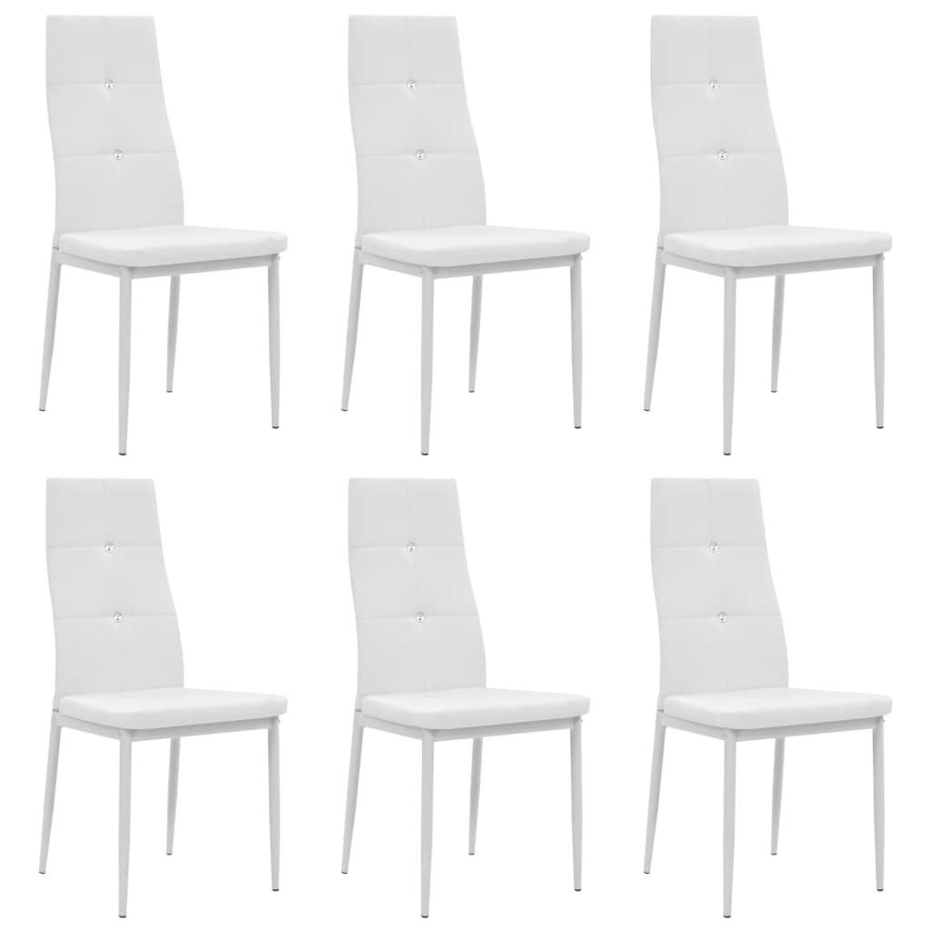 Dining Chairs, Artificial Leather, Wooden Frame, Steel Legs, White (Set of 6)