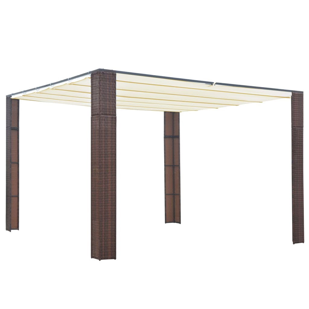 Gazebo with Roof, Poly Rattan, Brown and Cream, 300x300x200cm