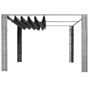 Gazebo with Roof, Poly Rattan, Grey and Anthracite, 300x300x200cm