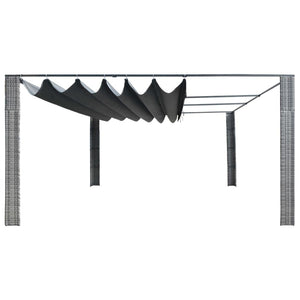 Gazebo with Sliding Roof, Poly Rattan, Grey and Anthracite, 400x400x200cm