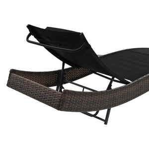 Sun Lounger with Pillow, Poly Rattan, Brown