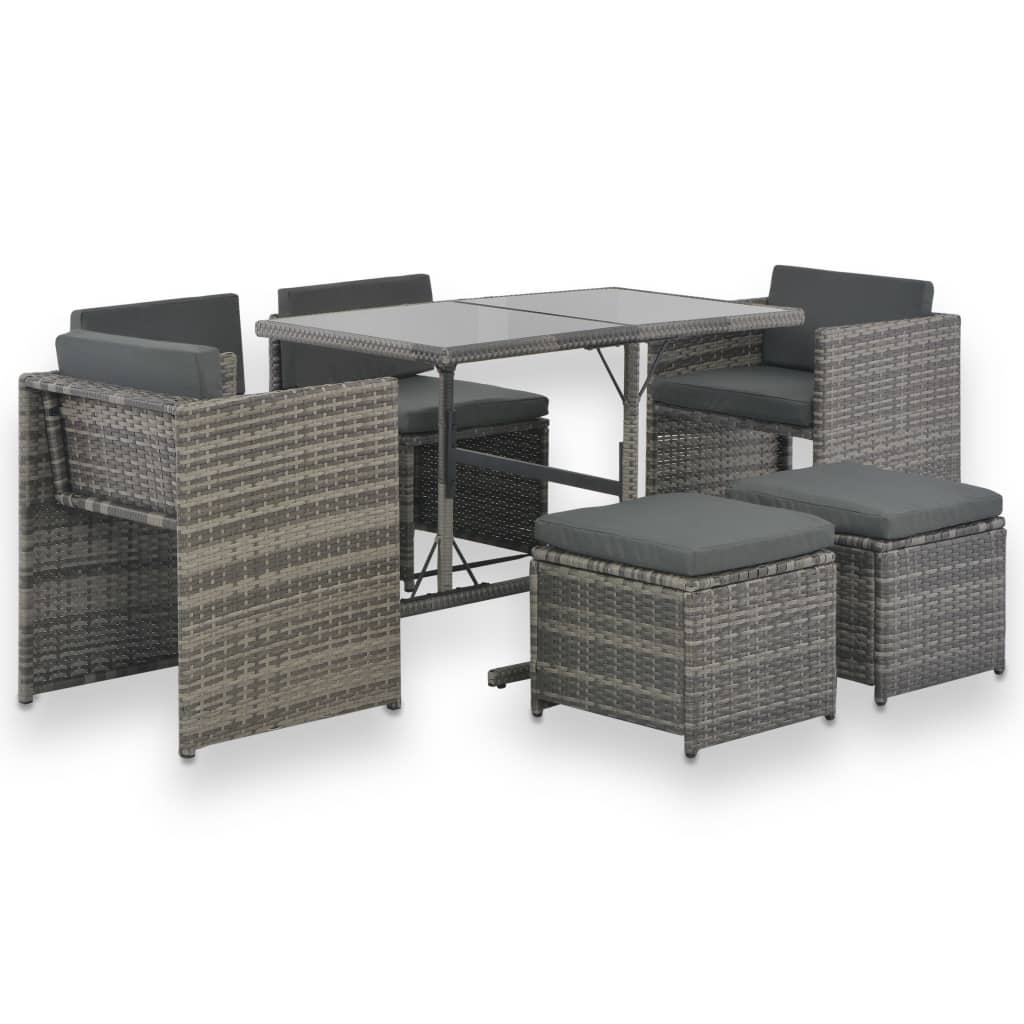 Garden Lounge Set, 7 Piece, with Cushions, Poly Rattan, Powder Coated Steel, Grey