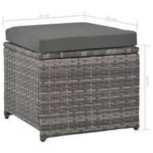 Load image into Gallery viewer, Garden Lounge Set, 7 Piece, with Cushions, Poly Rattan, Powder Coated Steel, Grey