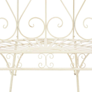 Garden Bench, Iron Antique, White, 95cm