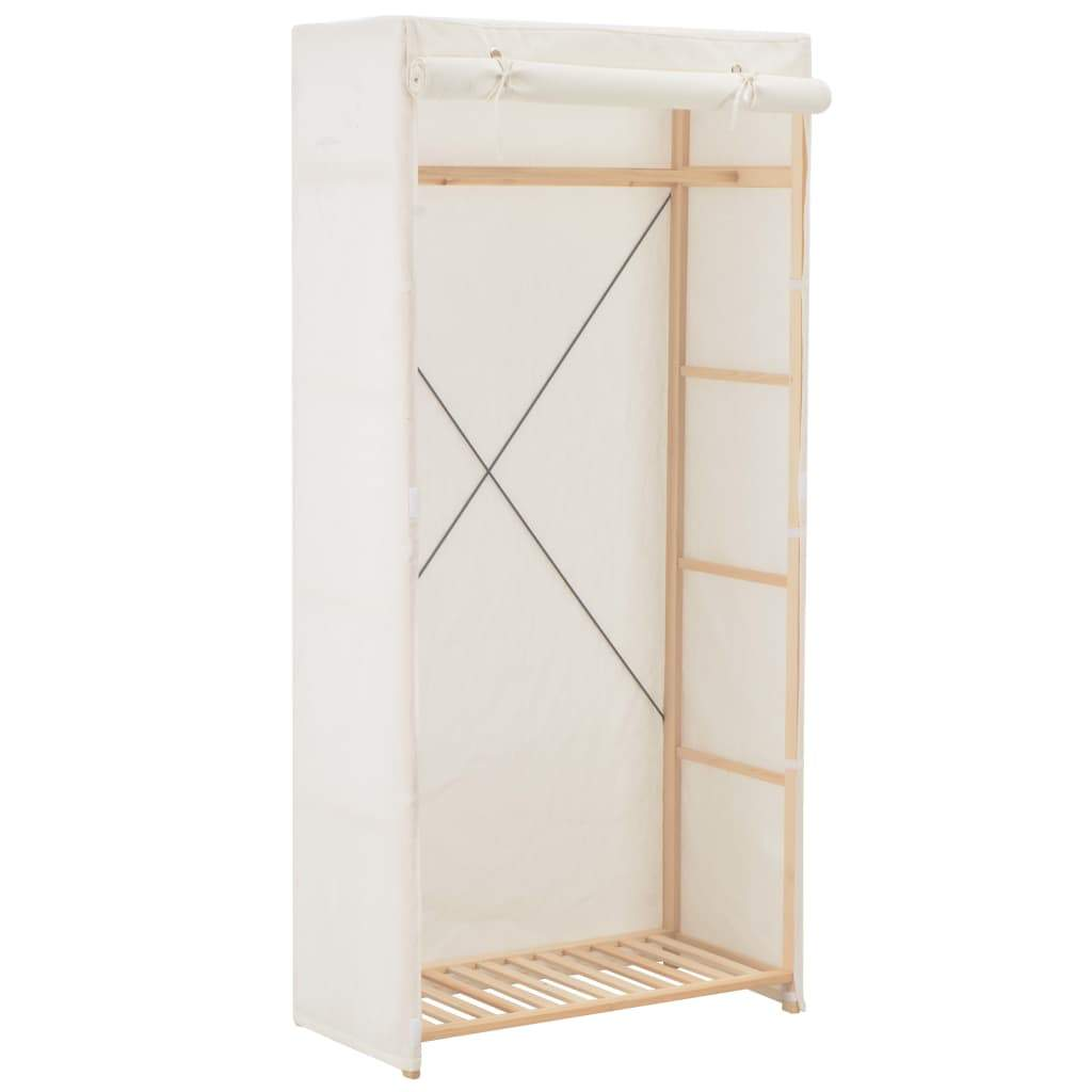 Wardrobe, Fabric, White and Firwood,  79x40x170cm