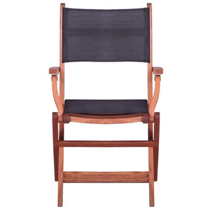 Outdoor Chairs, Solid Eucalyptus Wood and Textilene, Black (Set of 2)