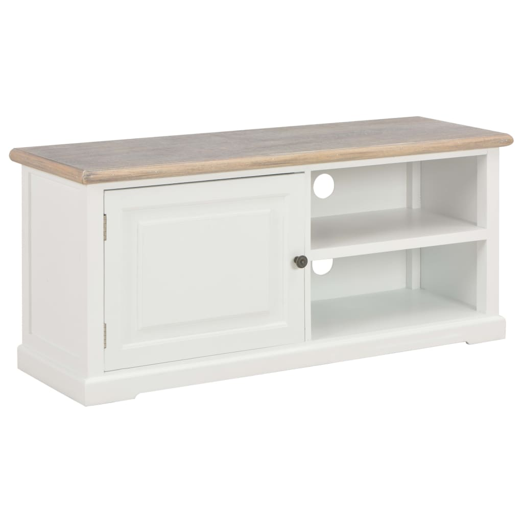 TV Cabinet, Wood, 1 Door, 2 Compartment, White, 90x30x40cm