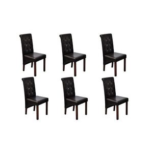 Dining Chairs, Synthetic Leather, Wooden Legs, Brown (Set of 6)