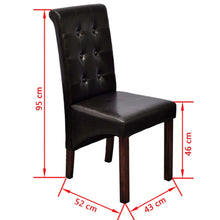 Load image into Gallery viewer, Dining Chairs, Synthetic Leather, Wooden Legs, Brown (Set of 6)