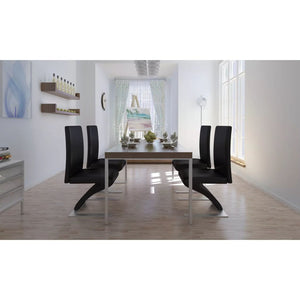 Dining Chairs, Synthetic Leather, Chrome Plated Feet, Black (Set of 4)