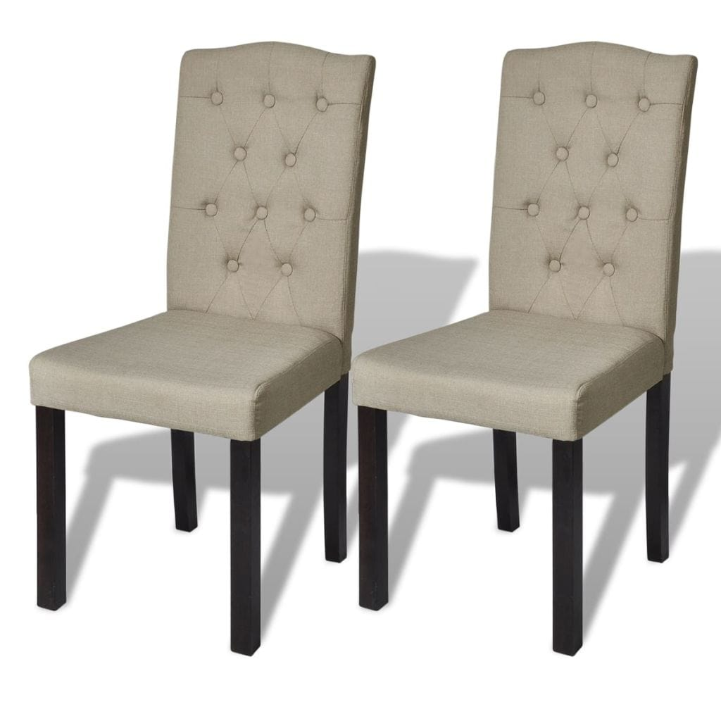 Dining Chairs, Fabric, Tufted, Beige (Set of 2)