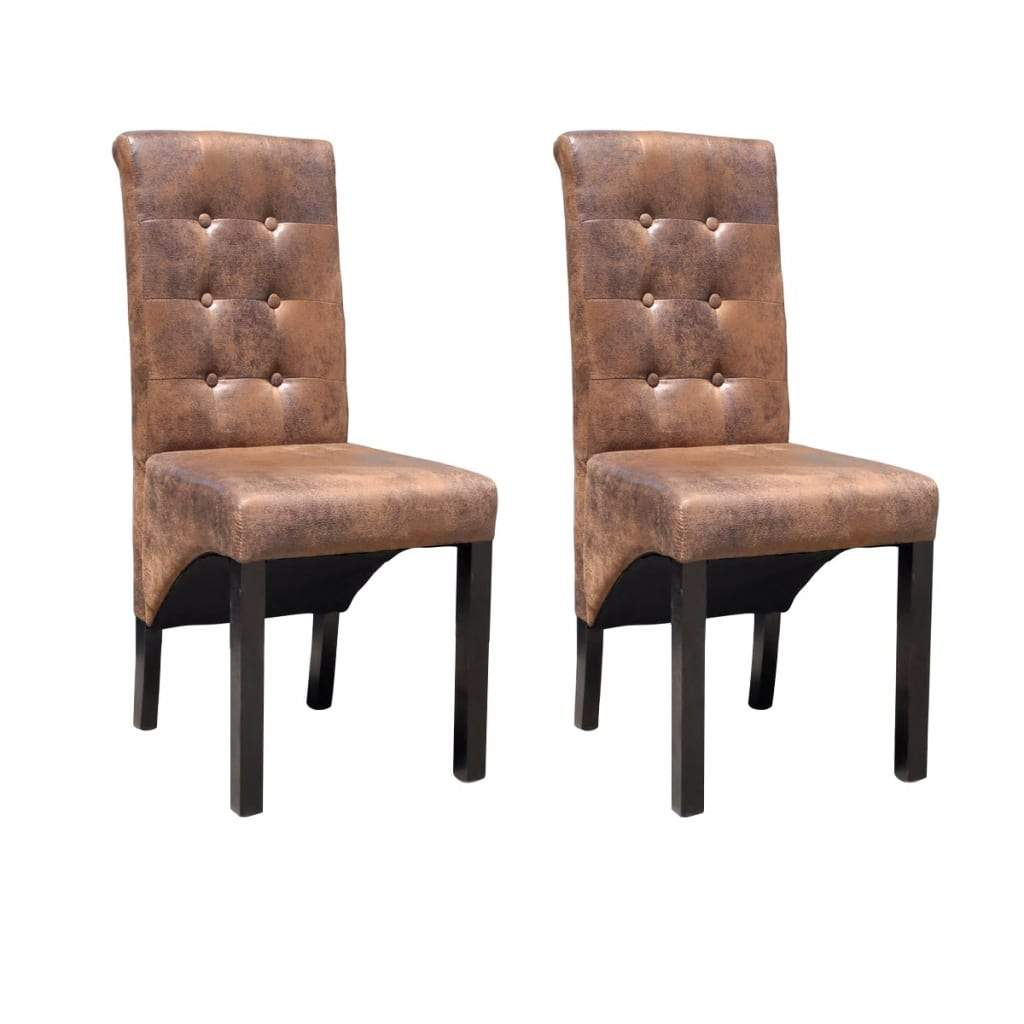 Dining Chairs, Faux Leather, Tufted, Brown Suede Look (Set of 2)