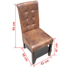 Load image into Gallery viewer, Dining Chairs, Faux Leather, Tufted, Brown Suede Look (Set of 2)
