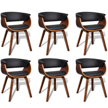Load image into Gallery viewer, Dining Chairs, Bent Wood and Faux Leather, Black and Brown (Set of 6)