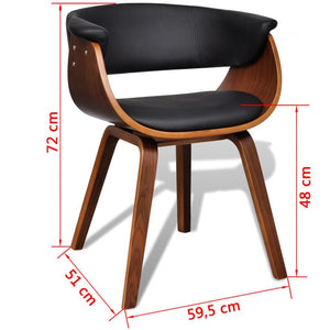 Dining Chairs, Bent Wood and Faux Leather, Black and Brown (Set of 6)