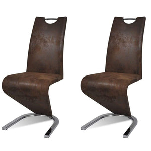 Dining Chairs, Faux Leather, Chrome Legs, Brown (Set of 2)