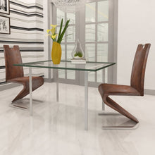 Load image into Gallery viewer, Dining Chairs, Faux Leather, Chrome Legs, Brown (Set of 2)