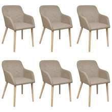 Load image into Gallery viewer, Dining Chairs, Fabric, Solid Oakwood, Beige (Set of 6)