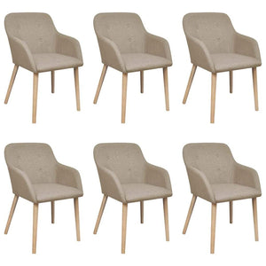 Dining Chairs, Fabric, Solid Oakwood, Beige (Set of 6)