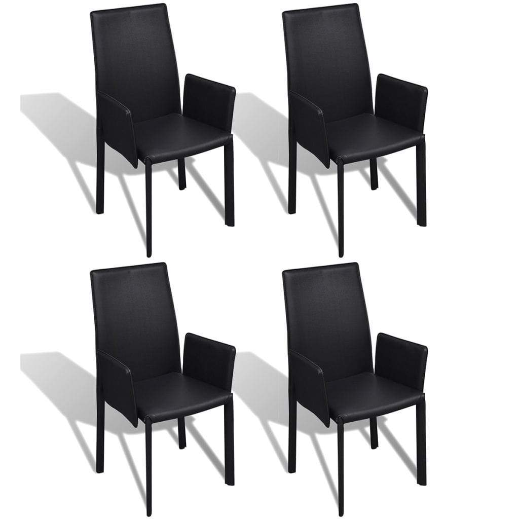 Dining Chairs, Faux Leather Upholstered, Black (Set of 4)