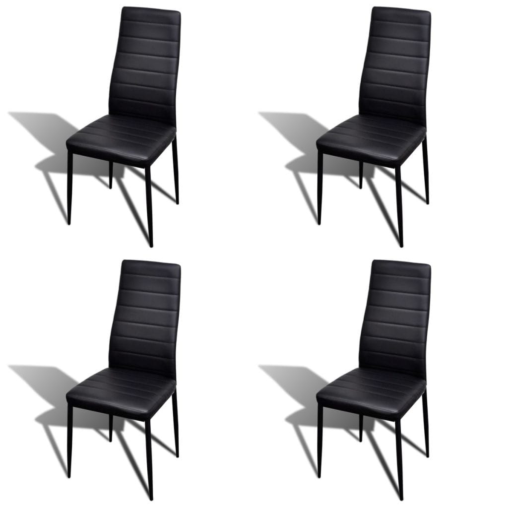 Dining Chairs, Artificial Leather, Iron Frame, Black (Set of 4)