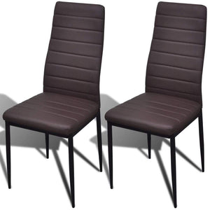 Dining Chairs, Artificial Leather, Iron Frame, Brown (Set of 2)