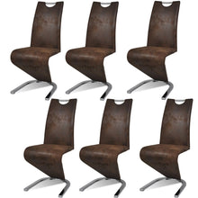 Load image into Gallery viewer, Dining Chairs, Faux Leather Upholstered, Chrome Legs, Brown (Set of 6)