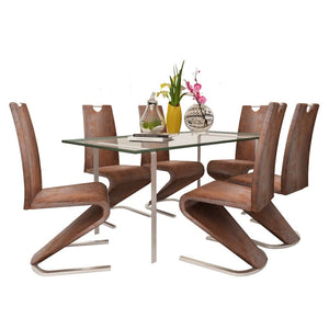 Dining Chairs, Faux Leather Upholstered, Chrome Legs, Brown (Set of 6)
