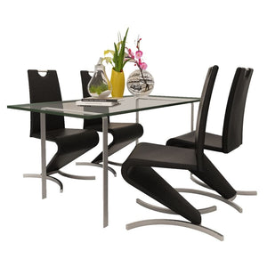 Dining Chairs, Faux Leather Upholstered, Chrome Legs, Black (Set of 4)