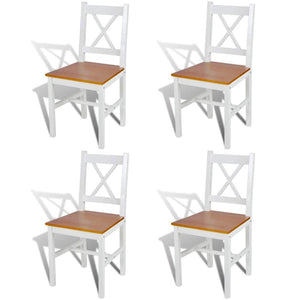 Dining Chairs, Pinewood, White (Set of 4)