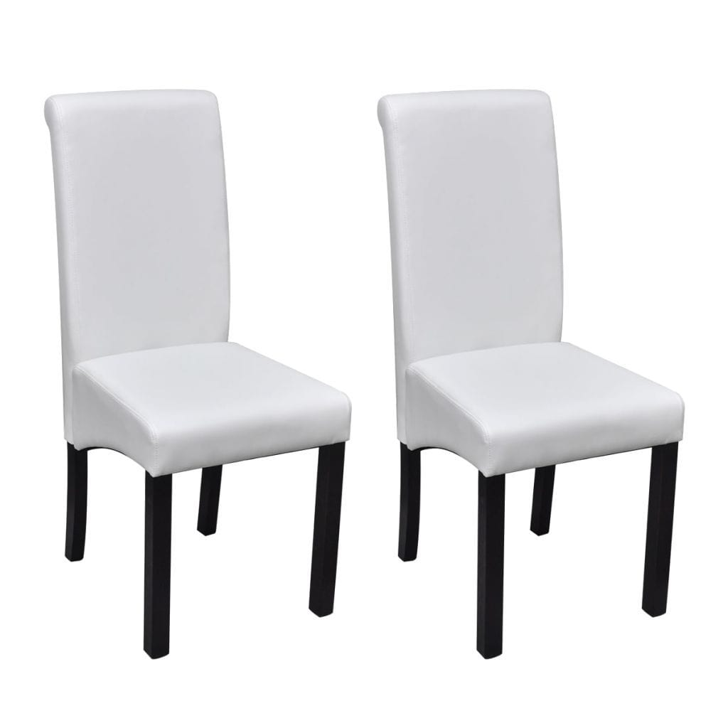 Dining Chairs, Artificial Leather Upholstery, White (Set of 2)