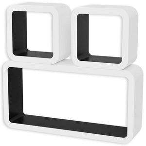 Floating Wall Display Cube Shelf, Book/DVD Storage, Wood, Matte Finish, White and Black (Set of 3)