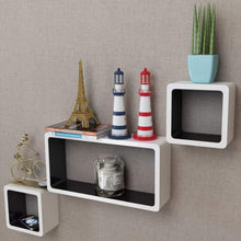 Load image into Gallery viewer, Floating Wall Display Cube Shelf, Book/DVD Storage, Wood, Matte Finish, White and Black (Set of 3)