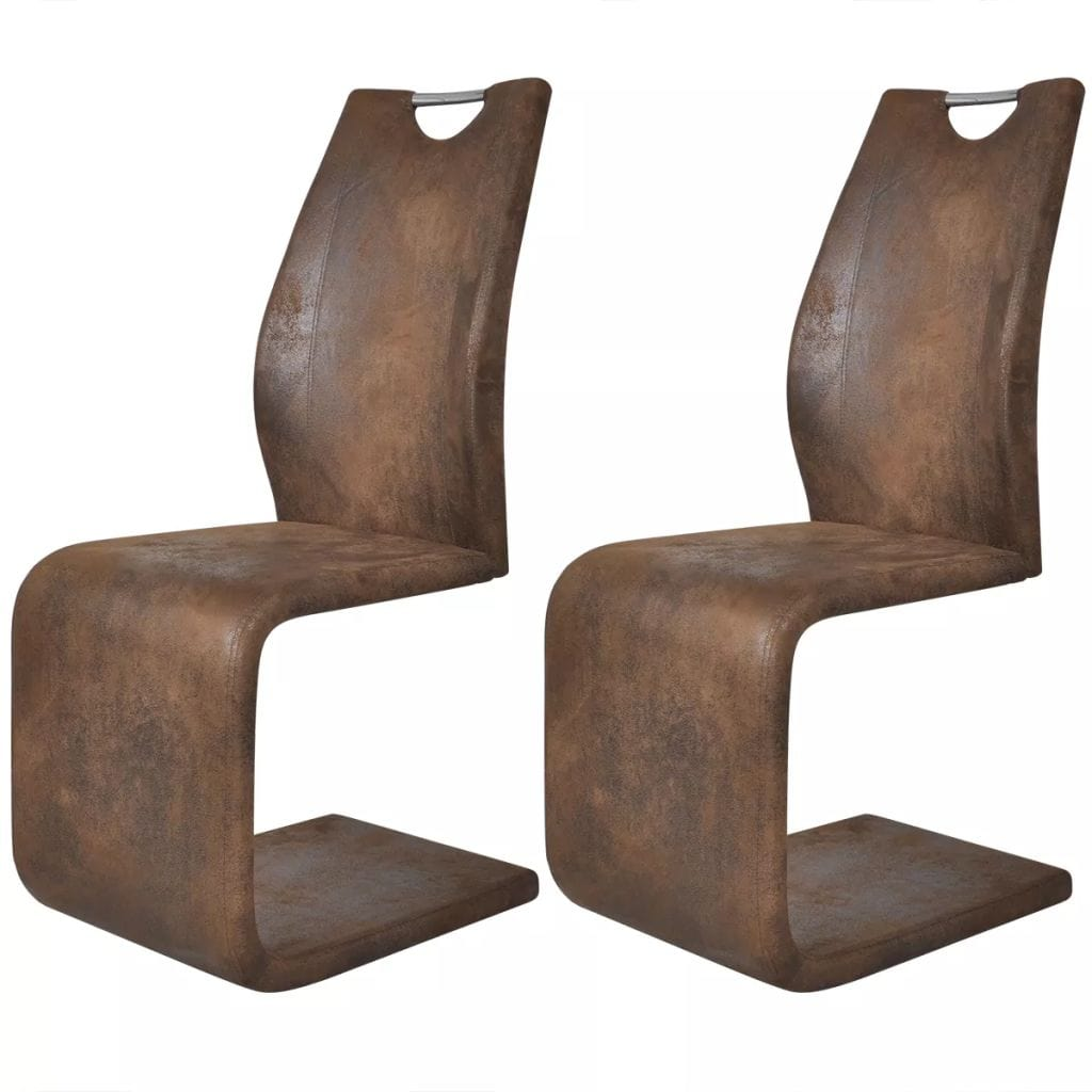 Dining Chairs, Artificial Leather Upholstery, Iron Frame, Brown (Set of 2)
