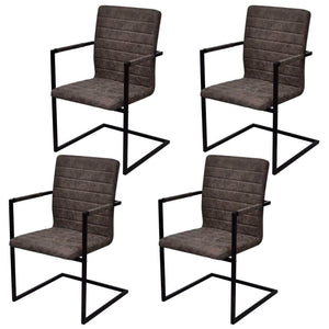 Cantilever Dining Chairs, Faux Leather, Steel Frame, Brown (Set of 4)