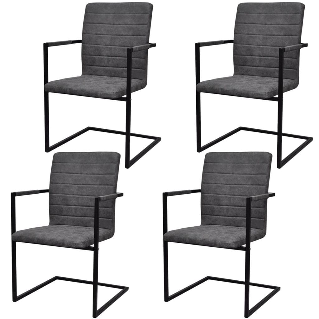 Cantilever Dining Chairs, Faux Leather, Steel Frame, Grey (Set of 4)