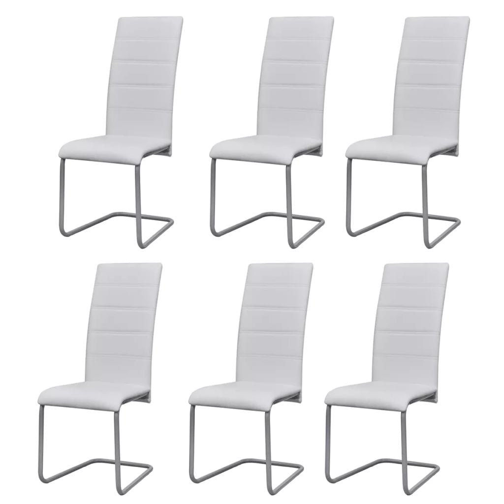Cantilever Dining Chairs, Faux Leather, Steel Frame, White (Set of 6)