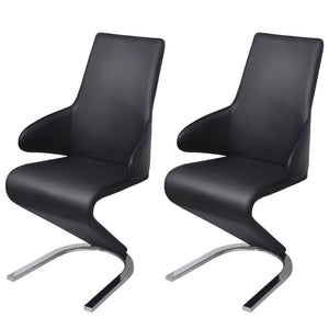 Dining Chairs, Artificial Leather Upholstery, Plywood and Steel Frame, Black (Set of 2)