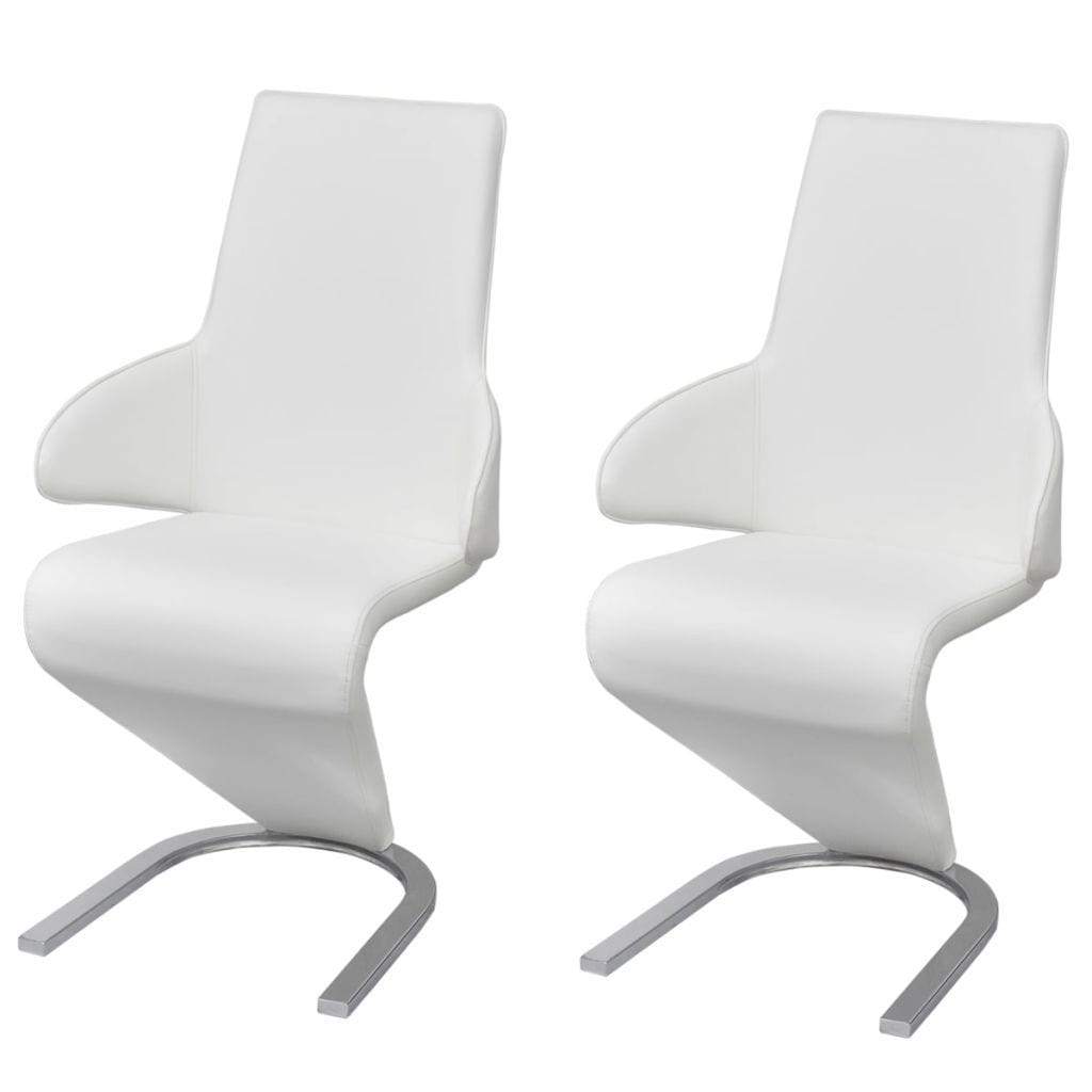 Dining Chairs, Artificial Leather Upholstery, Plywood and Steel Frame, White (Set of 2)