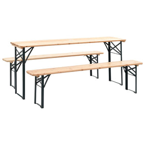 Folding Beer Table with 2 Benches, Pinewood, 177cm