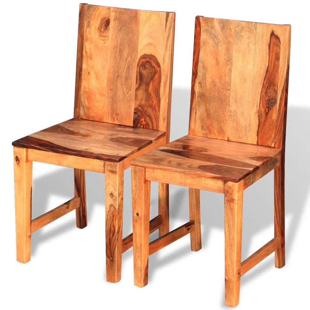 Dining Chairs, Solid Sheesham Wood (Set of 2)