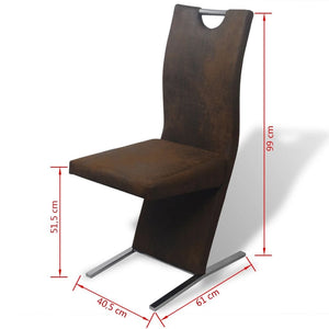 Dining Chairs, Fabric, Plywood and Steel Frame, Brown (Set of 4)