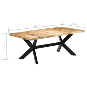Dining Table, Solid Mango Wood, Powder Coated Steel, 200x100x75cm
