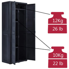 Load image into Gallery viewer, Garden Storage Cabinet, Plastic, Plastic, Black, 65x38x171cm