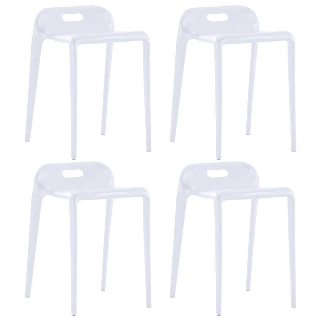 Stackable Stools, Lowback, Plastic, White (Set of 4)