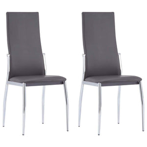 Dining Chairs, High Backrest,Faux Leather, Steel Legs, Grey (Set of 2)