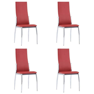 Dining Chairs, High Backrest,Faux Leather, Steel Legs, Red (Set of 4)