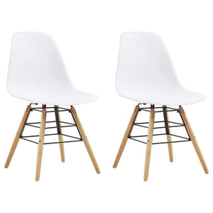 Dining Chairs, Plastic, Beechwood, Steel, White (Set of 2)
